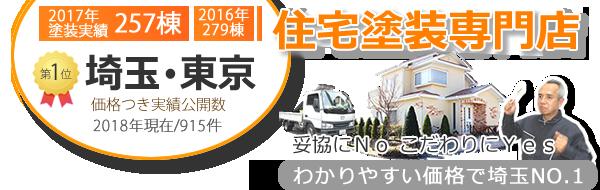 埼玉県・東京都で外壁塗装実績件数No.1